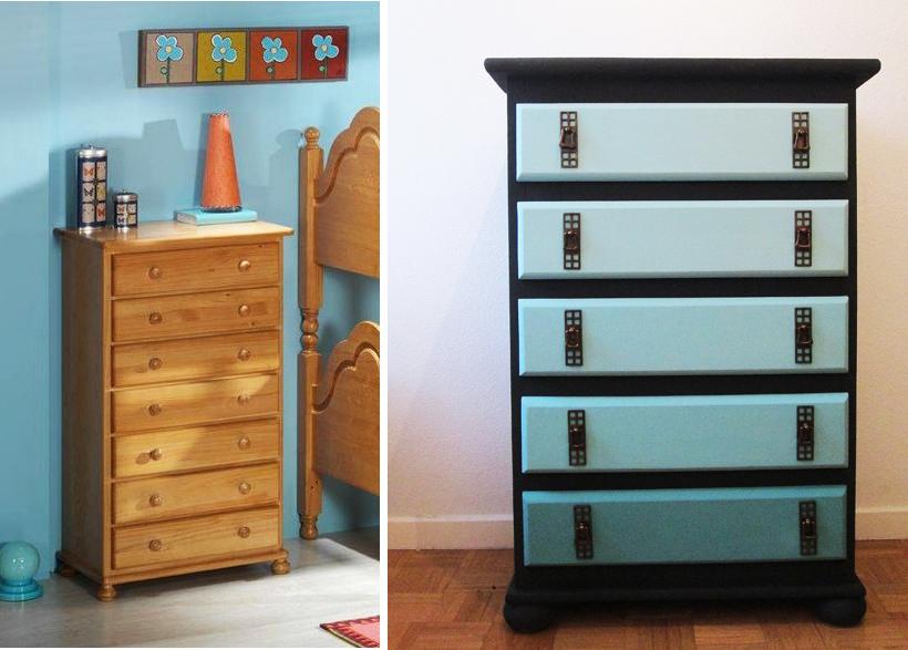 Pintar una cajonera con la t cnica del degradado - Pintar muebles colores ...