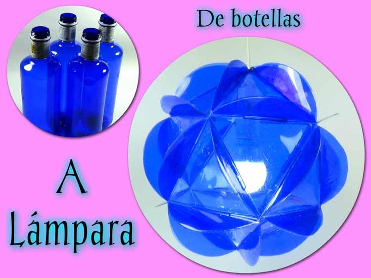 L mparas azules con botellas recicladas - Pintar botellas de plastico ...
