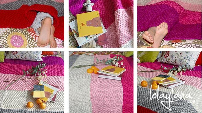 Calor rosa una manta para el sof - Mantas de punto hechas a mano ...
