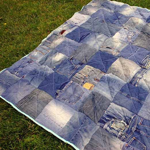 Manta de picnic hecha con jeans - Manta de picnic ...