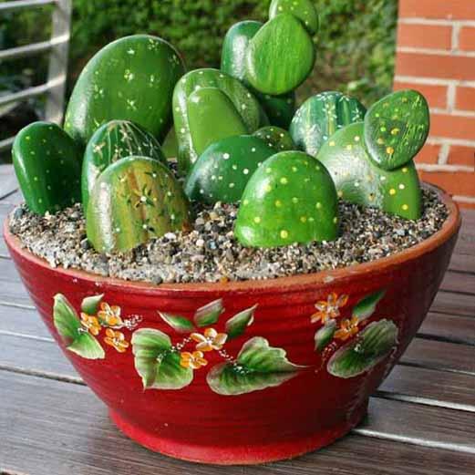 Cactus de piedra haz tu propia maceta for Piedras grandes pintadas para jardin