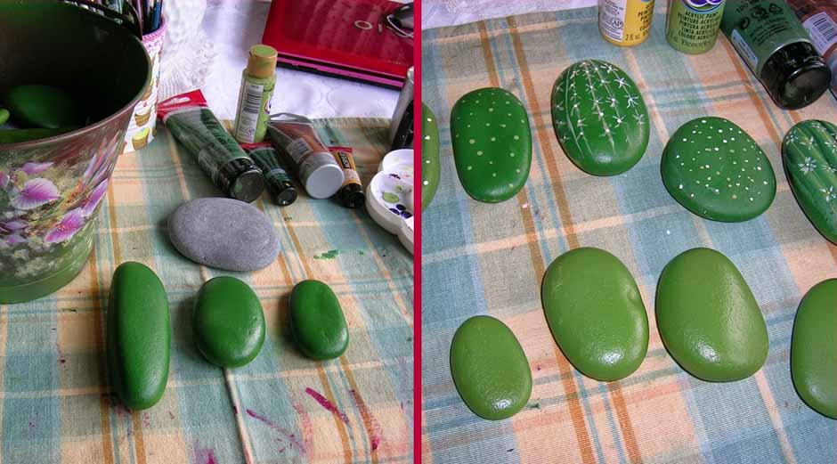 Cactus de piedra haz tu propia maceta for Pintura para pintar piedras