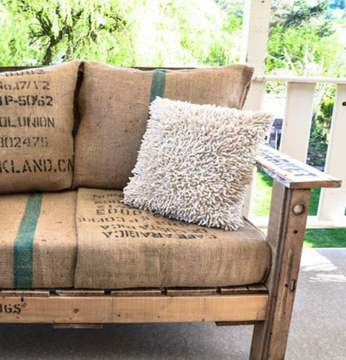 Sof de exterior con madera reciclada - Muebles exterior tela nautica ...